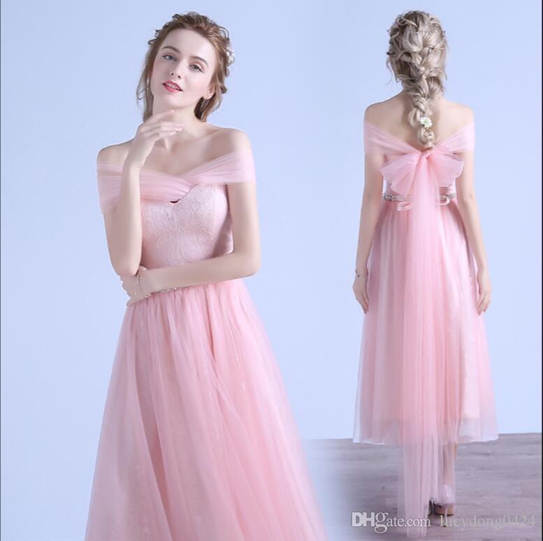 Billige Spitze Tüll Tee-Länge Brautjungfer Kleid erröten rosa Schatz Trauzeugin rückenfreie Strandhochzeit Kleid