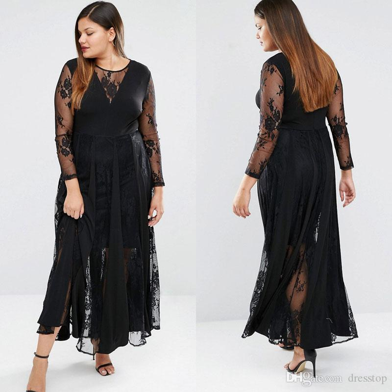 2016 Black Lace Plus Size Prom Dresses With Long Sleeves Sheer Jewel ...