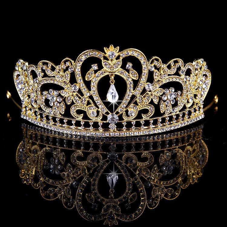 2016 Nova Moda Nupcial Da Coroa de Ouro Real de Prata de Cristal Acessórios Do Casamento Headband Top Quality Tiara Melhor Hairwear