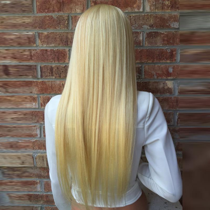 Full Lace Human Hair Wigs Lightest Blonde 613 Peruvian Hair Straight Gluless Lace Front Human Hair Wigs for Black/White Women