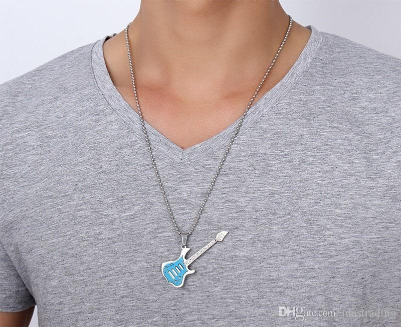 Fashion Guitar Necklace Pendant Music Jewelry Stainless Steel Wholesale with 60cm Ball Chain