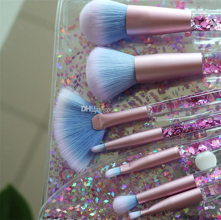 Hot Mermaid Makeup Brush Set Quicksand Crystal Liquid Handle Cosmetics Brushes Crystal Maquillaje Cepillo Herramienta de maquillaje