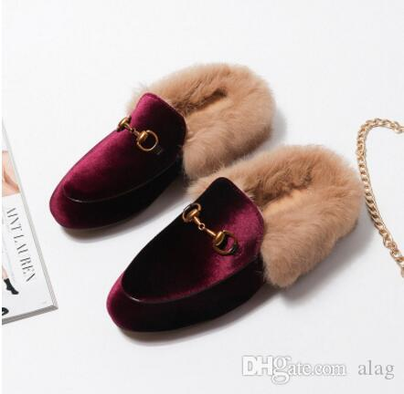 3fcb2fcaf0a 2018 Fashion Women Real Fur Shoes Genuine Leather Womens Slipper Flats  Female Casual Slip On Loafer Flats For Women Cozy Shoes