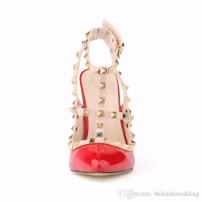 Femmes Mode Sexy Personnalité Creux Rivets Couture Fine avec Talons Hauts Chaussures De Mariage Bout Toe Talons Chaussures Livraison Gratuite