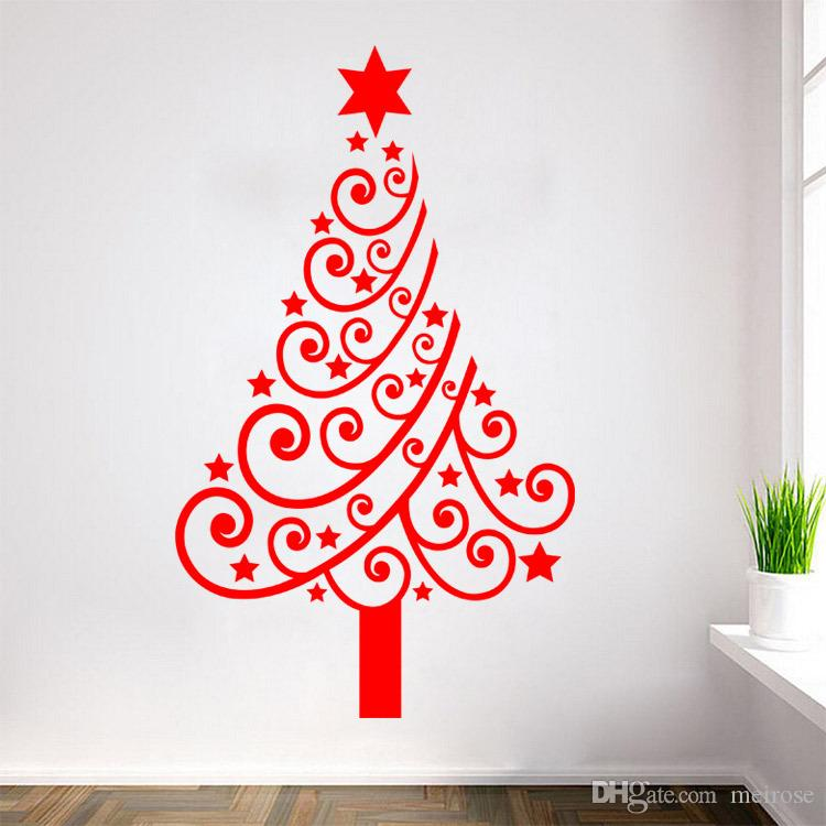 Shop Window Wall Stickers for Decorative Christmas Tree Xmas Home Decoration Window Display Removable Wallpaper Product Code:90-2021