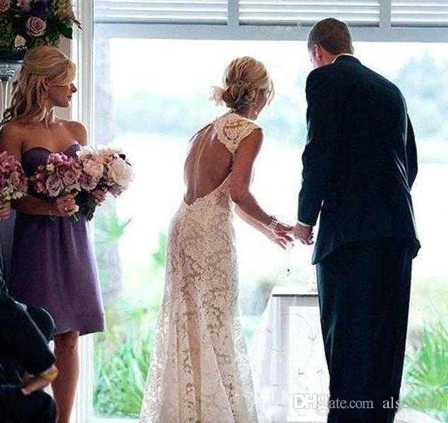 Chique Rústico Cheio de Vestidos de Casamento Rendas Barato V Neck Abrir Voltar Sweep Train Boho Jardim Vestido de Noiva Custom Made Estilo Country Novo 2017