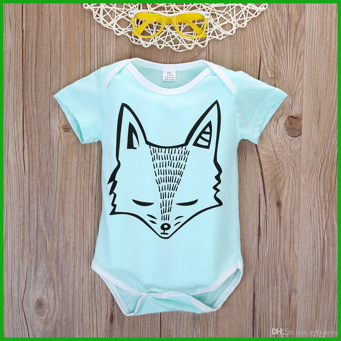 9381170acb724d Fashion Baby Boys Girls Jumpsuits Fox Pattern Green Color Bobysuit ...