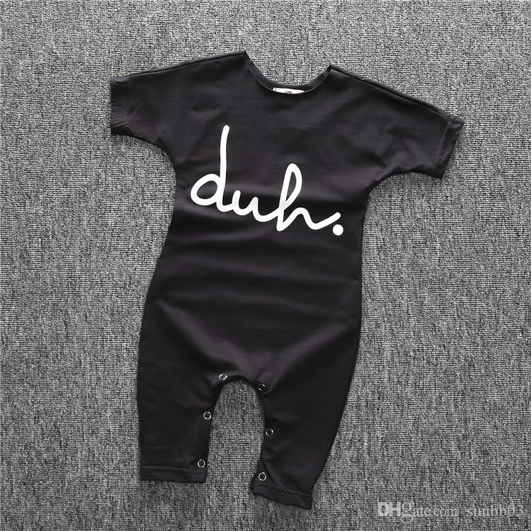 Summer Ins Infant Baby Letters Printed Cotton One-piece Rompers Short Sleeve Boys Girls Kids Overalls Jumpsuits Children Clothes