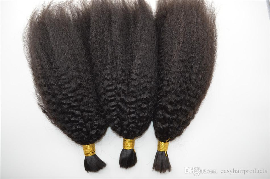 Malaysian Kinky Straight Human Hair Bulk For Braiding Natural Black 100 Human Hair Braids Bulk 8-30inch G-EASY