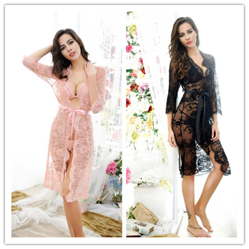 e08e1d5678d 2019 Wholesale 2017 Women Sexy See Through Sleepwear Lace Nightgown  Nightwear Mesh Sleepshirt Home Clothes Sleep Dress Pink Black Erotic Fetish  From ...