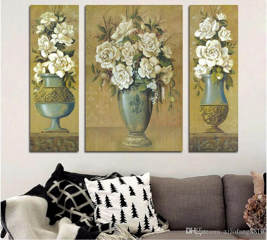Flower arrangement white rose flowers decoration vase Canvas Painting wall Art living room kids printed decor unframed