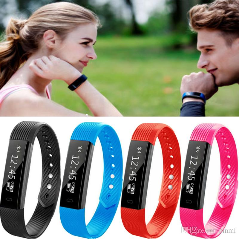 ID115 Smart Wristband Fitness Tracker Watch Alarm Clock Step Counter Smart  WristbandBracelet Bluetooth Sport Sleep Monitor Track