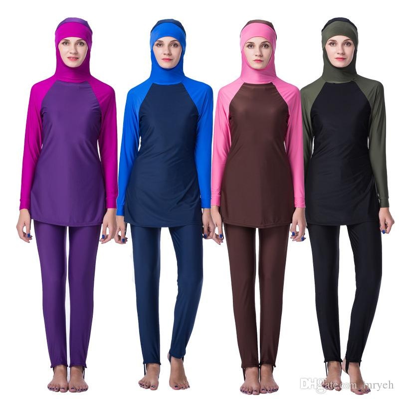ce82655bd0562 New Plus Size S 4XL Full Coverage Modest Muslim Swimwear Islamic Swimsuit  For Women Muslim Hijab Swimsuits Burkini Lady Canada 2019 From Mryeh, ...
