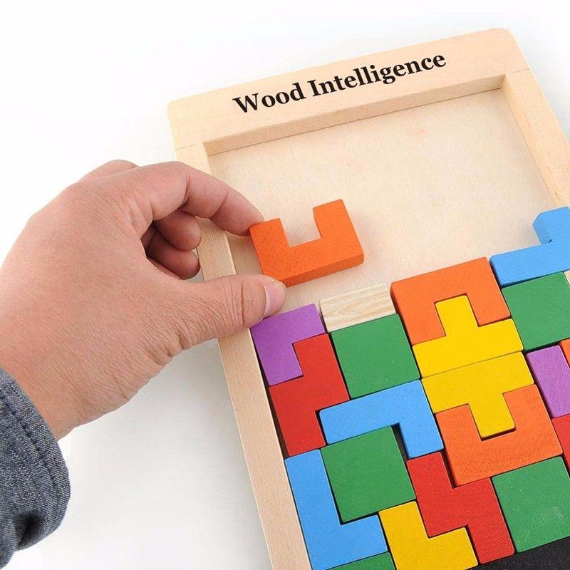 Colorido De Madeira Tangram Cérebro Teaser de Puzzle Brinquedos Jogo Tetris Magination Preschool Intelectual Educacional Kid Toy Presente