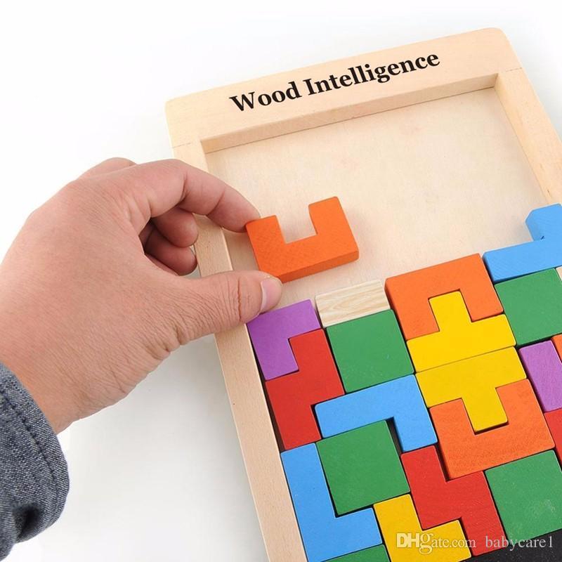 Renkli Ahşap Tangram Zeka Bulmaca Oyuncaklar Tetris Oyunu Okul Öncesi Magination Entelektüel Eğitici Çocuk Oyuncak Hediye