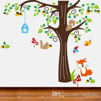 ! Big Roommates Fox Tree Peel U0026 Stick Wall Decal Kindergarten Animal Forest Wall  Sticker Wall To Wall Stickers Wall Transfer Quotes From Artbaby, ...