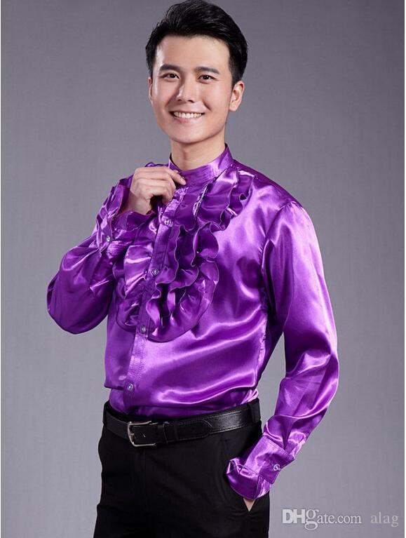Men's Fashion Luxury Stylish Casual Designer Dress Shirt Cultivate one's morality long sleeve shirt wedding shirt , shiny dance shirt LLK35