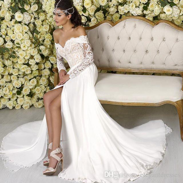 2021 최신 섹시 어깨 긴 소매 레이스 스플릿 사이드 화이트 쉬폰 싸구려 긴 엘리 사이브 저녁 댄스 파티 드레스
