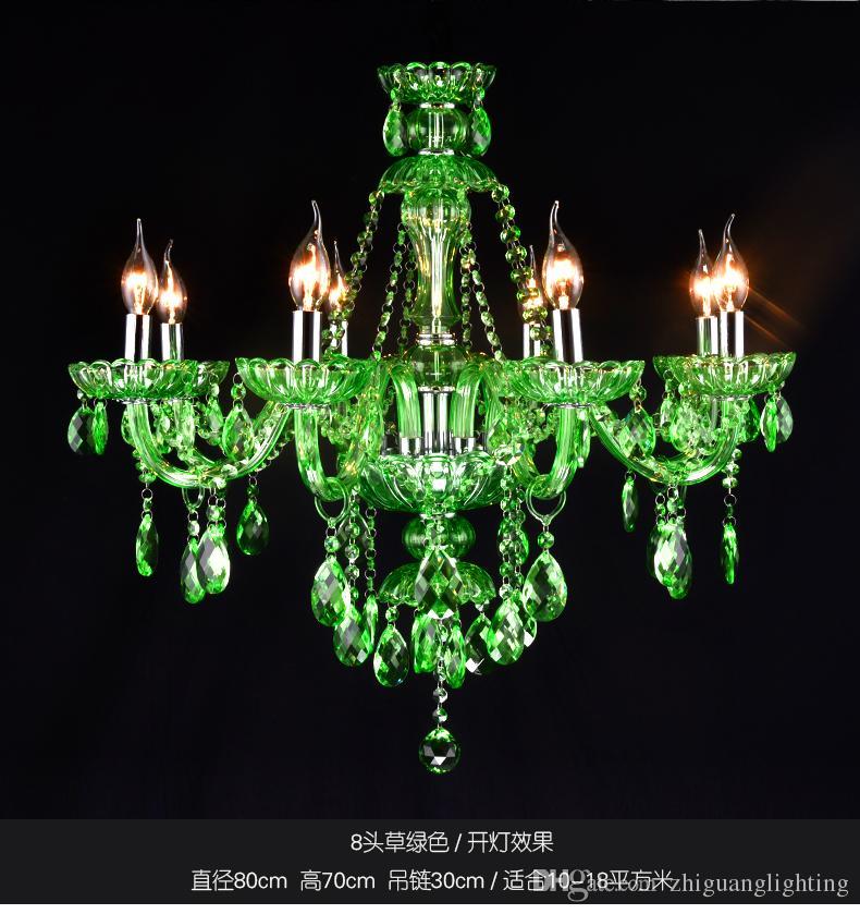 Lampe en cristal verte Salle de la lampe suspendue Continental Chandelle Lustre en cristal Bar Cafe Lighting