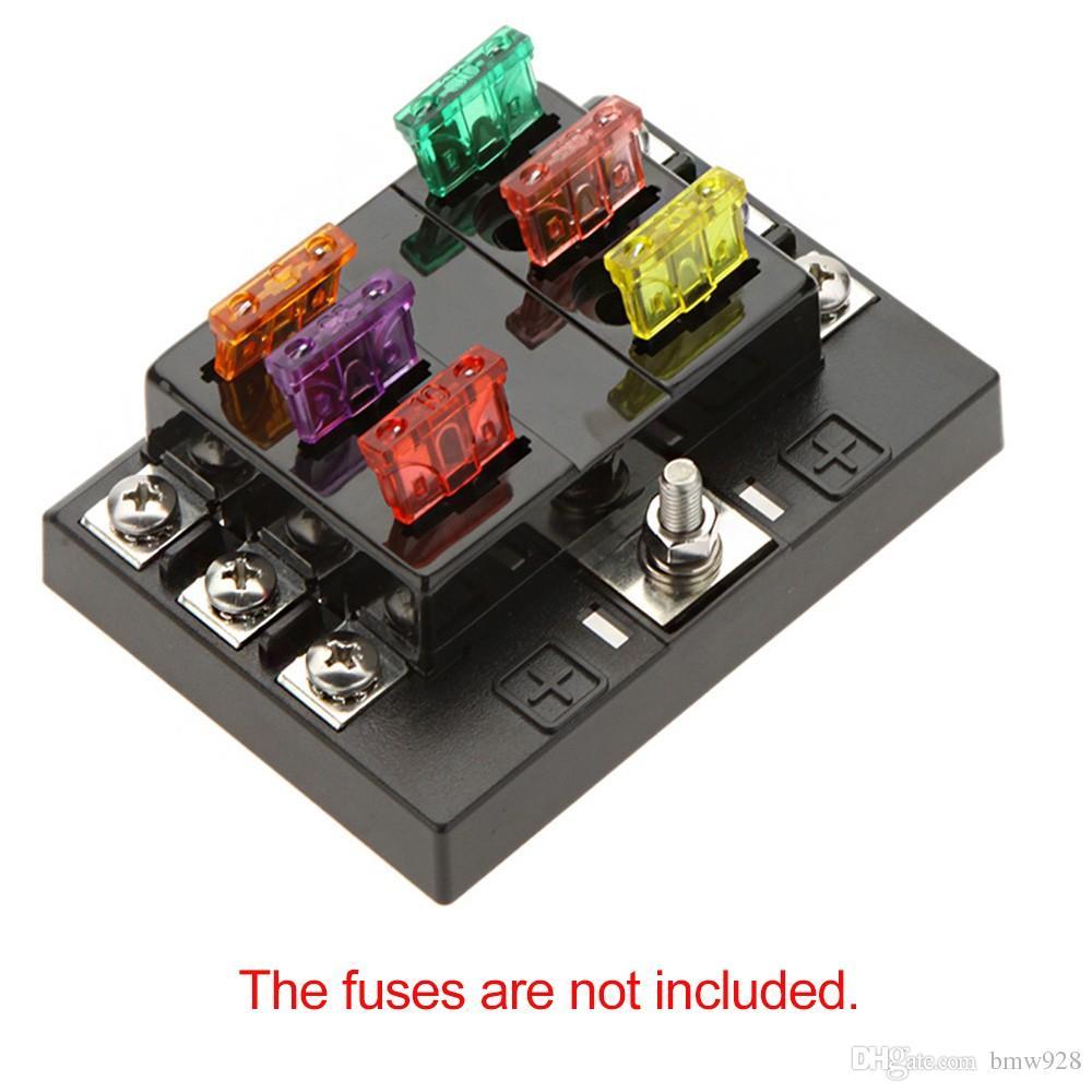 شحن مجاني 6 طريقة حلبة 32 فولت dc بليد فيوز صندوق بلوك حامل ل قارب سيارة السيارات