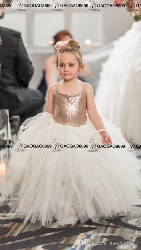 So Cute Sparkly Rose Gold Sequins Puffy Petite Princesse Fleur Filles 'Robes Belle Robe De Tutu Sur Mesure Make Pas Cher Petite Fille Robe Habillée