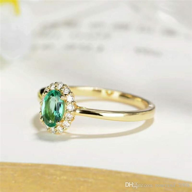 Brand New 925 Sterling Silver with 18KT Gold Plated and Natural Green Emerald Ring Genuine Gemstone Fashion Jewelry for Women Party Wedding