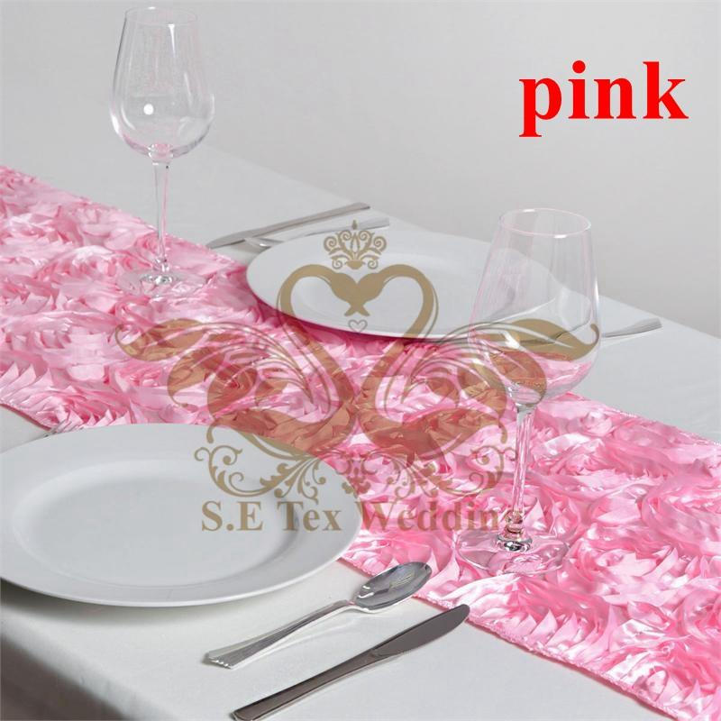 PINK Color New Design Satin Rosette Table Runner For Wedding Decoration