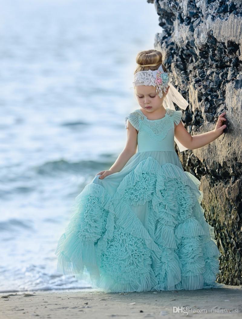 Ucuz Ruffles Çiçek Kız Elbise Düğün İçin Kristal Jewel Boyun Çocuklar Resmi Giyim Kat Uzunluk kızın Pageant Elbise