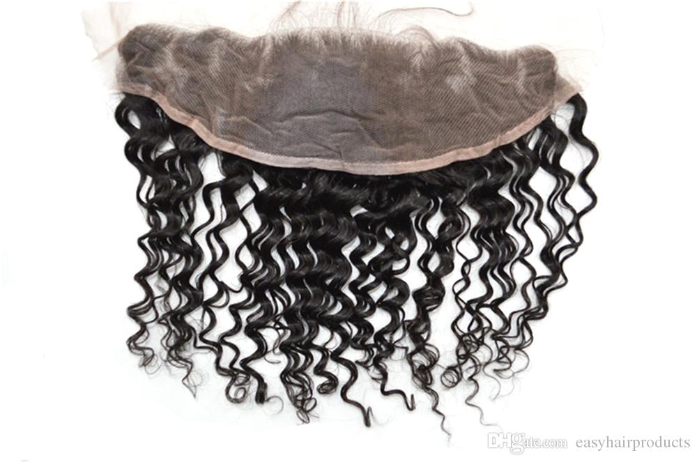 Deep Wave Lace Frontal Closure Bleached Knots Swiss Lace From Ear To Ear Malaysian Deep Curly Human Hair G-EASY