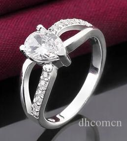 Herz Kubikzircon Frauen Ring Silber Farbe Luxus Schmuck Party Hochzeit Liebe Ringe Hohe Qualität Neu