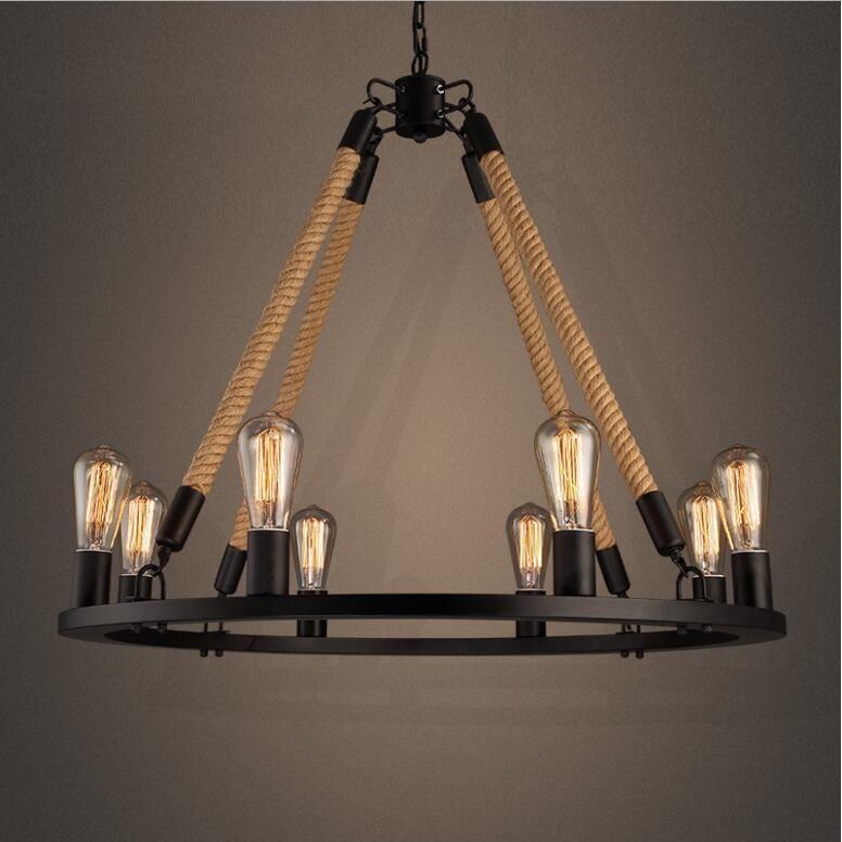 Retro Hemp Rope Chandelier Loft Style 6 8 Lights American Country Vintage Wrought Iron Light Restaurant Pendant Lamp Shades Glass