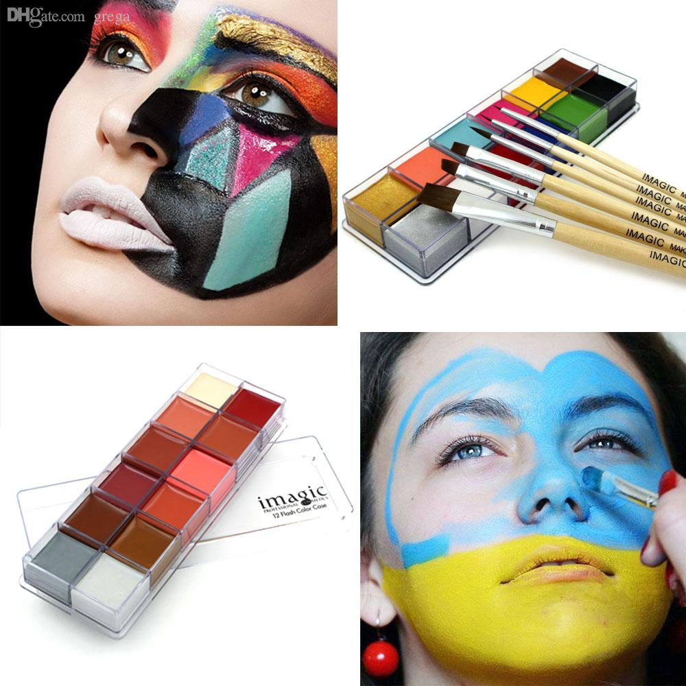 Wholesale-Halloween Face Body Paint Oil Painting Art Cosmetic Make Up Set Tools Party Fancy Dress 12 Flash Tattoo Color+6pcs Paint Brush