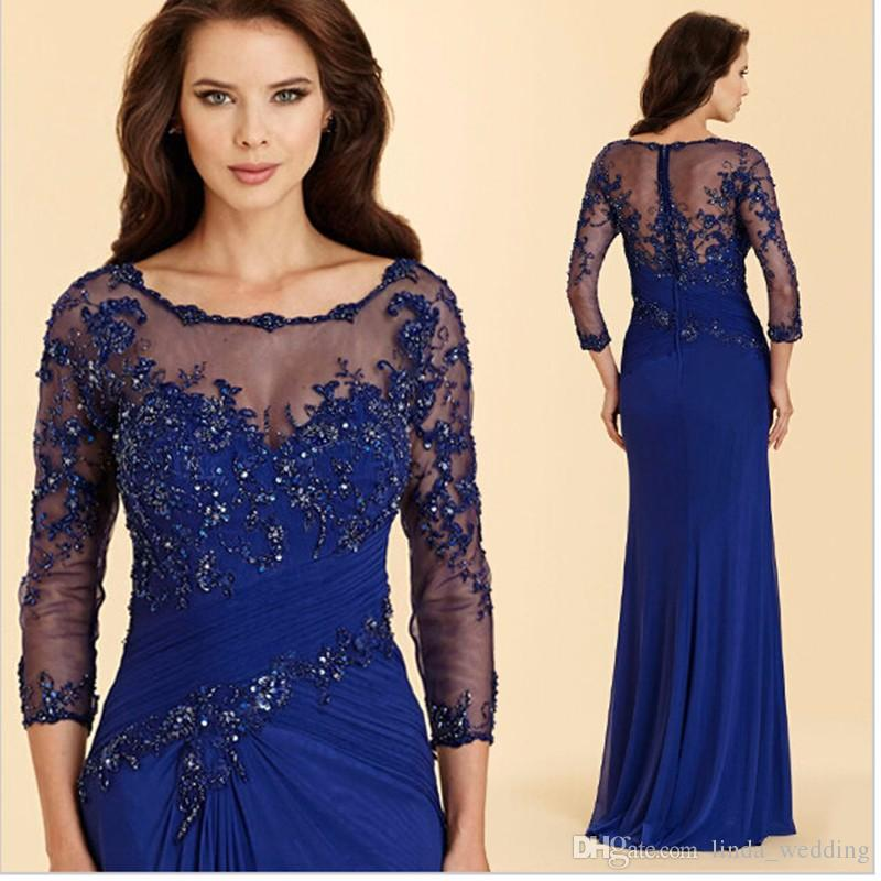 Vintage Royal Blue Evening Dress High Quality Applique Chiffon Prom Party Dress Formal Event Gown Mother Of The Bride Dress