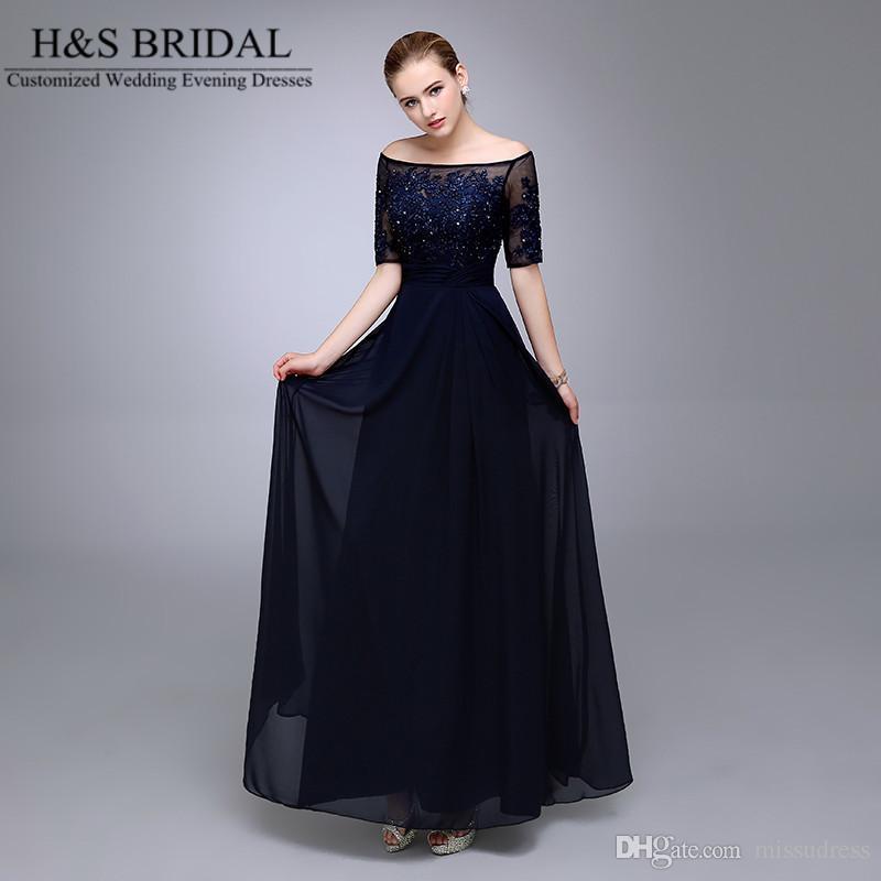 Imagen real Azul marino Vestidos de noche 2016 Media manga con cuentas Gasa Madre formal de la novia Novio Dresse Apliques de encaje vestidos formales
