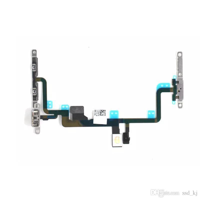 Power On Off Flex für iPhone 7 7G und Original-Ersatz-Power Button Volume Side Key Flex-Kabel mit Metallbrackets