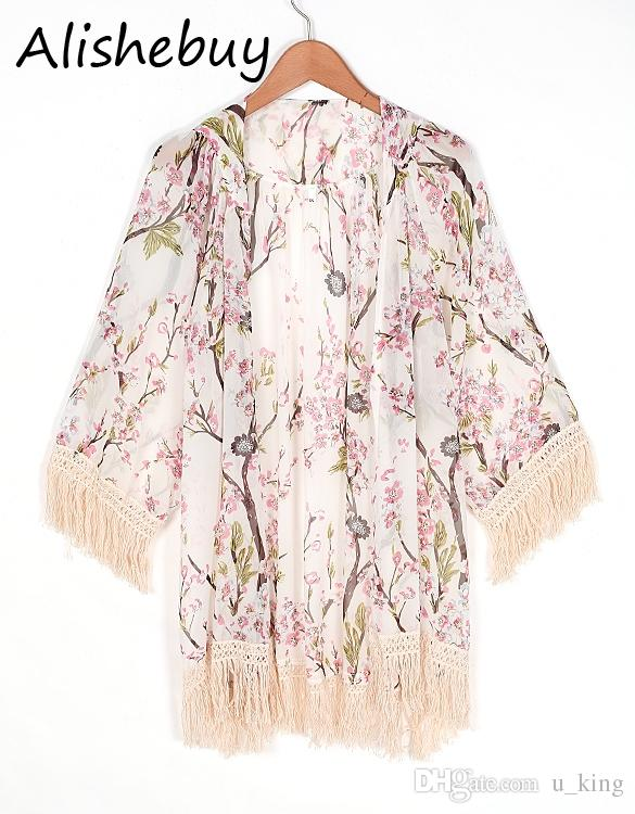 cec8f303a4af05 Summer Outwwear Sexy Print Plum Floral Blouse Women Boho Loose Tassels Tops  Chiffon Cardigan with 3/4 Sleeve Casual Sun Shirts EU001010 Floral Cardigan  for ...