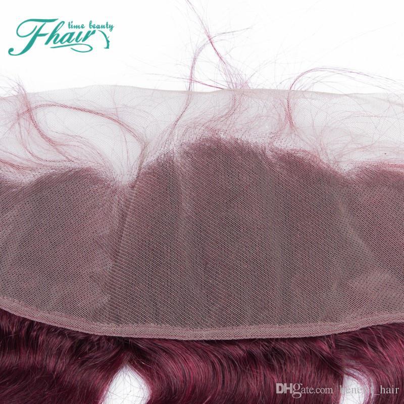 99J Vin Rouge Dentelle Fermetures Frontales 13 * 4 Vague de Corps de Cheveux Humains Oreille à L'oreille Pleine Dentelle Fermeture Frontale Blanchi Noeuds Avec Des Cheveux De Bébé