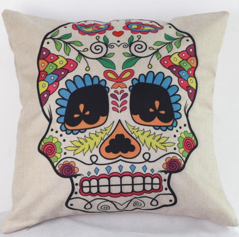 45cm Hot Sale Black Purple Skulls Cotton Linen Fabric Throw Pillow 18inch Fashion Hotal Office Bedroom Decorate Sofa Chair Cushion