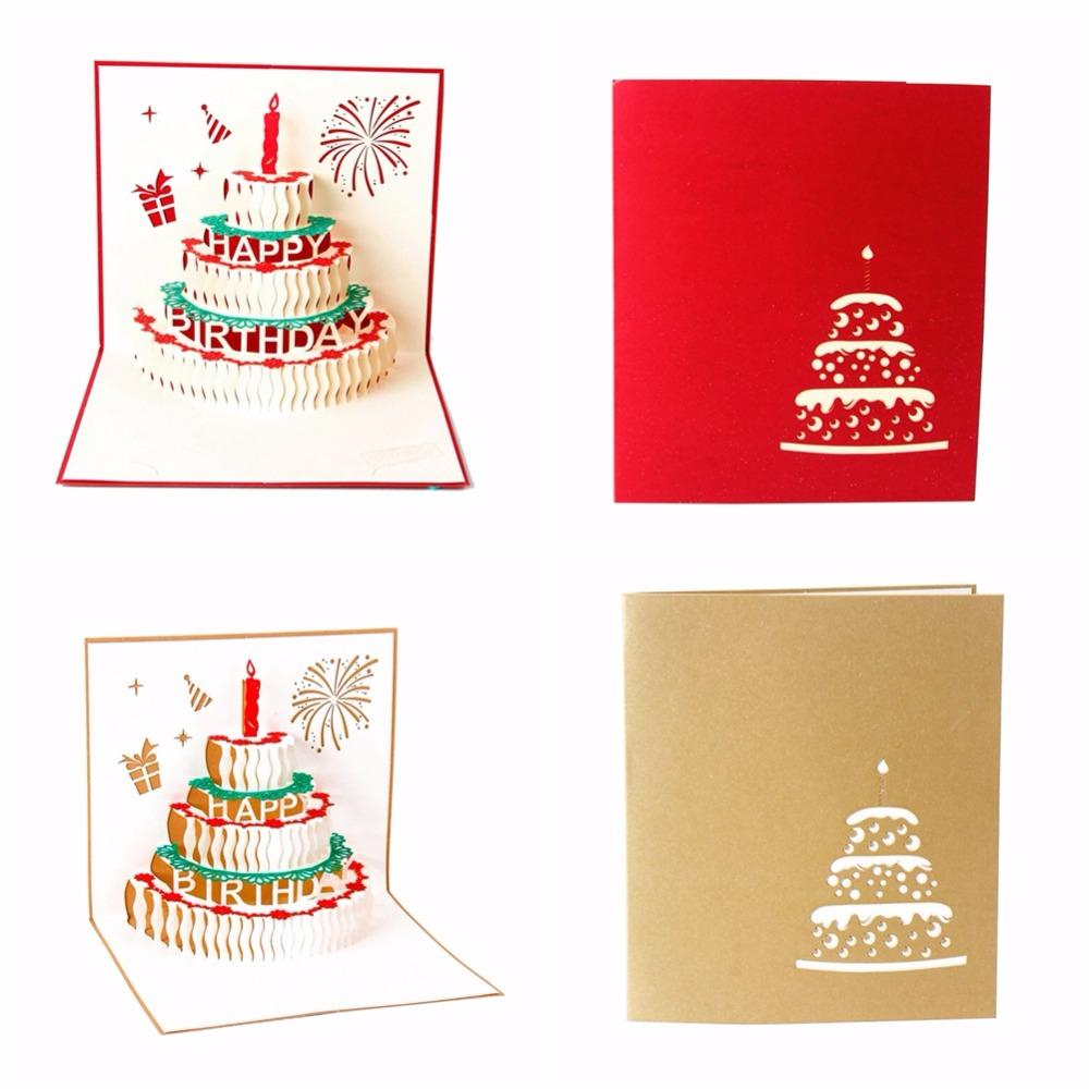 Newest 3d Happy Birthday Card Handmade Paper Card Cake Personalized ...