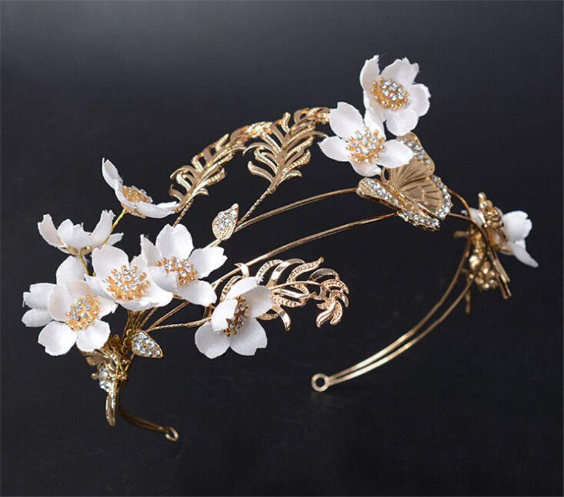 Vintage Wedding Bridal Flower Crown Tiara Headband Crystal Rhinestone  Headpiece White Headdress Princess Queen Crown Party Prom Jewelry Bridal  Earrings ... 261c3fc5ef5