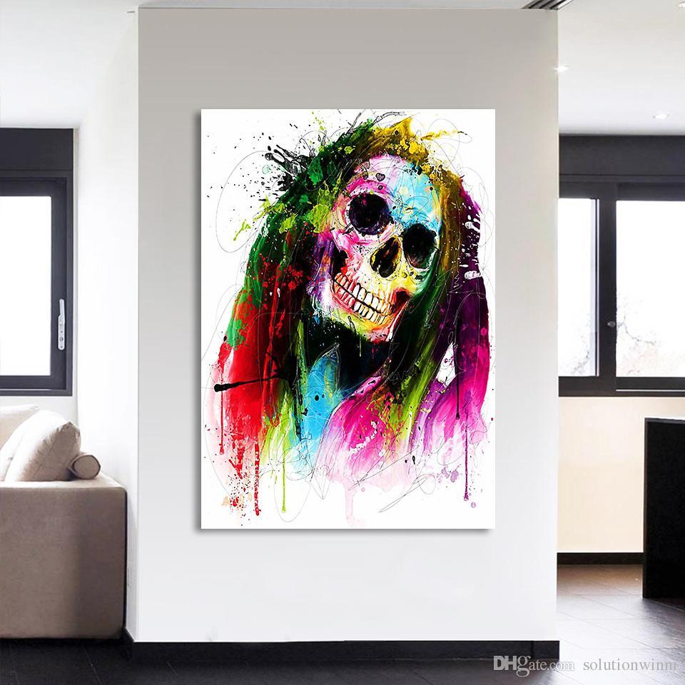 1 шт Canavs Живопись HD Печатный Цвет Череп Аннотация Wall Picture For Living Room Бесплатная доставка