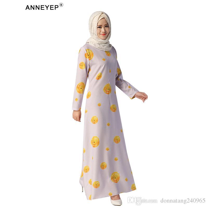 Vestido musulmán elegante del nuevo estilo 2016 con los elementos chinos dubai Abaya turco con la impresión del vestido de la flor