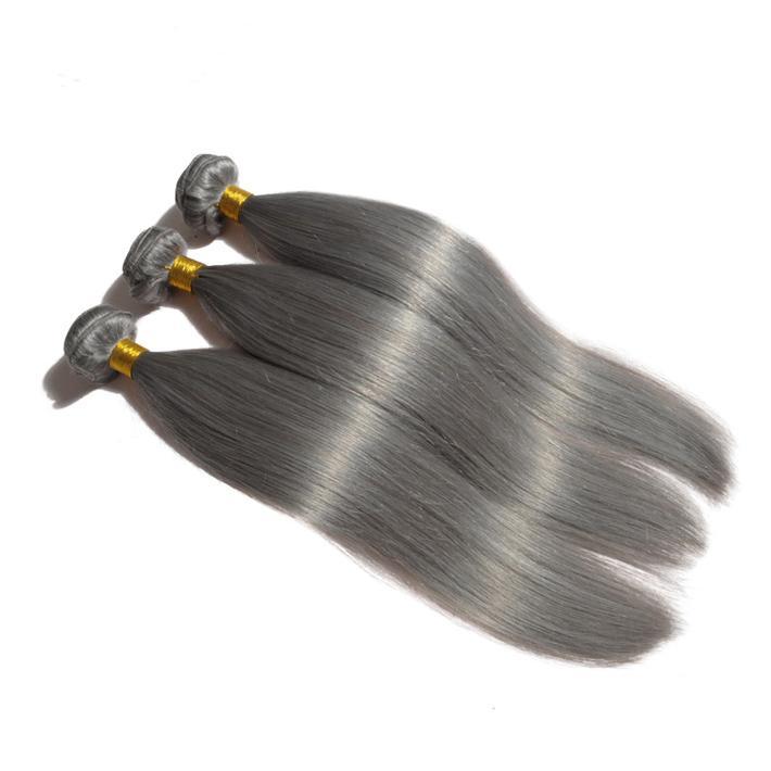 "Fashion 12-26"" Silver Grey Brizalian Hair Extensions 3 Bundles Silky Straight Brazilian Human Hair Weft Gray Sew In Hair Extensions"