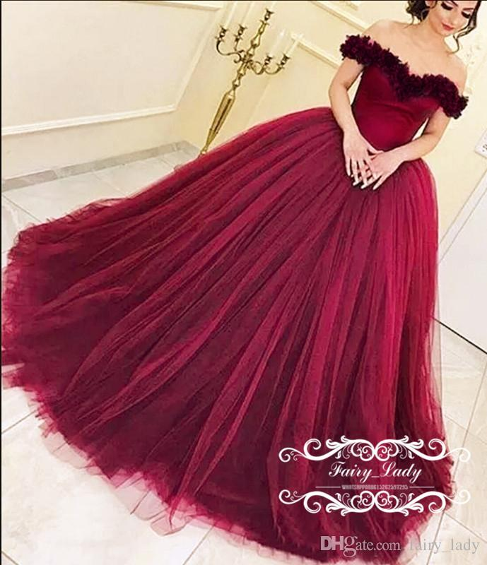 c0733b44b 2017 Off Shoulder Sweet 16 Birthday Quinceanera Dresses For Girls Handmade  Flowers Fluffy Ball Gown Burgundy Tulle Pageant Prom Formal Gowns  Quinceanera ...