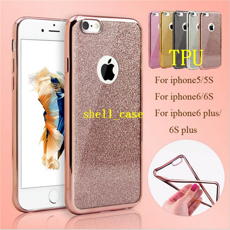 ac666f8e247f4d Glitter Bling TPU Plating Case 2 In 1 Clear Soft Ultrathin Cases With  Glitter Shiny Back Film Skin Cover For Iphone Se 5 5s 6 6s Plus Mobile  Phone Case ...