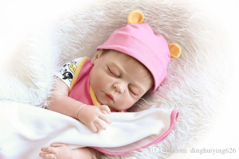 "22"" Sleeping Realistic Full Vinyl Body ANATOMICALLY CORRECT Baby Reborn Girl Doll with Cute Baby Clothes"