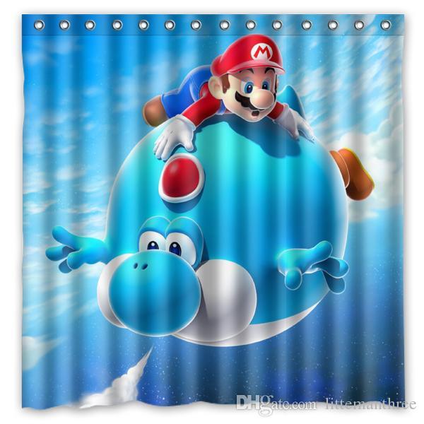 2019 Mario Air Balloon Yoshi Blue Super Gal Design Shower Curtain Size 180 X Cm Custom Waterproof Polyester Fabric Bath Curtains From