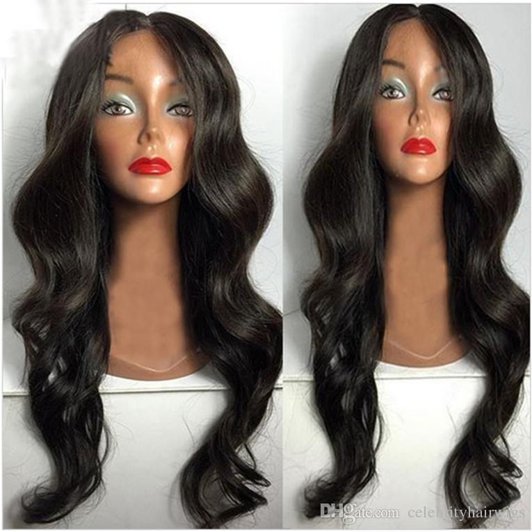 Full Lace Front Human Hair Wigs 24inch Black With Baby Hair Brazilian Virgin Remy Hair