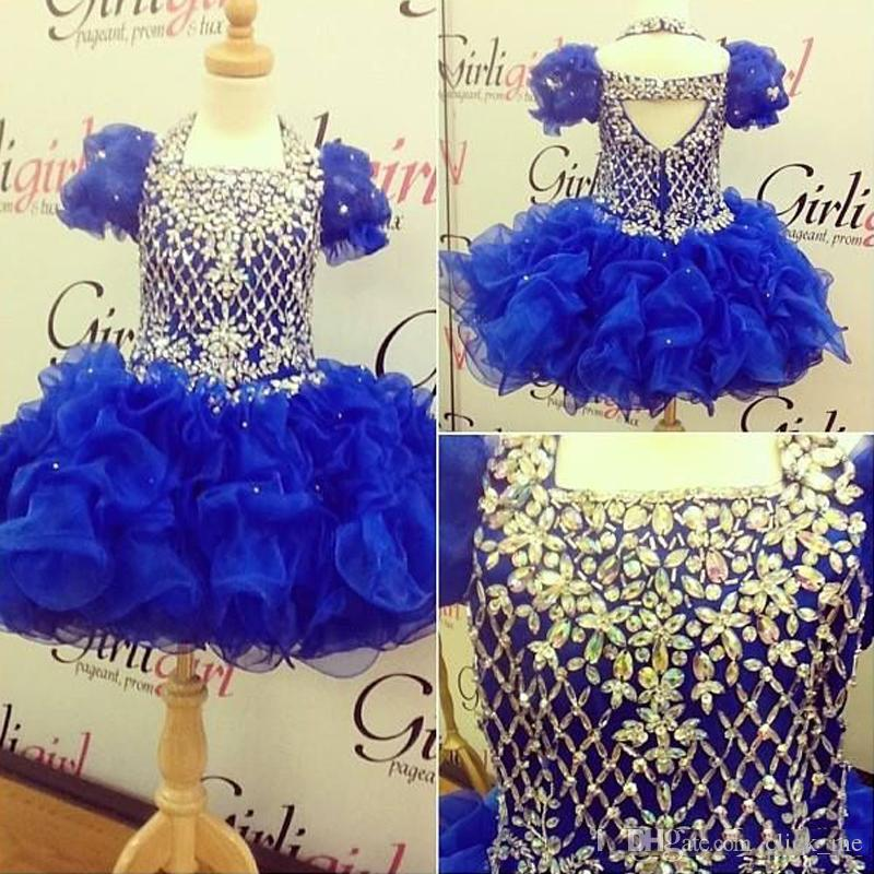 Royal Blue Short Girls Pageant Dresses With Short Sleeves Crystals Beaded Ruffles Organza Kids Birthday Dress For Party Christmas Wear