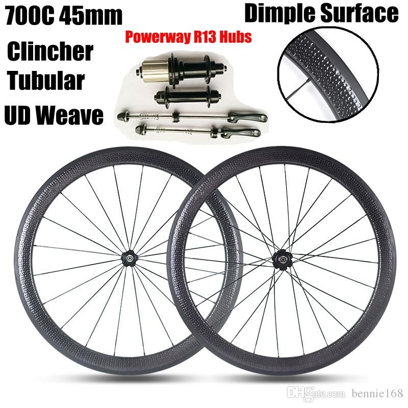 d64a0cb5e11 ... Carbon Wheels Powerway R13 Hubs 700C 45MM Depth 25mm Width Tubular Clincher  UD Weave Road Bicycle Wheelset Dimple Wheels Golf Surface Wheels Carbon Bike  ...